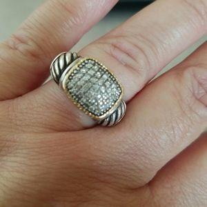EFFY/ 18K Gold Sterling silver ring w/ diamonds